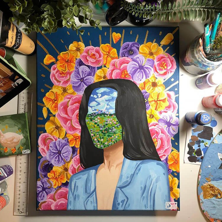 women with floral landscape face