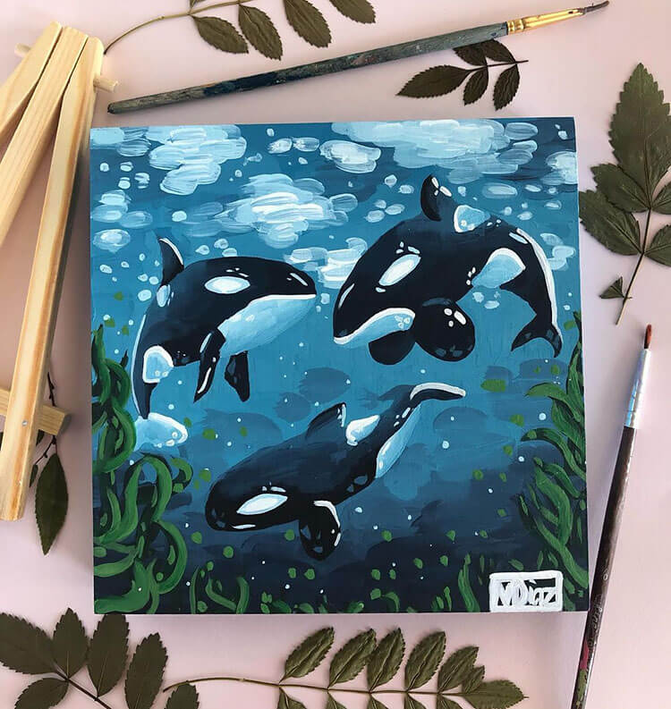 whale canvas painting