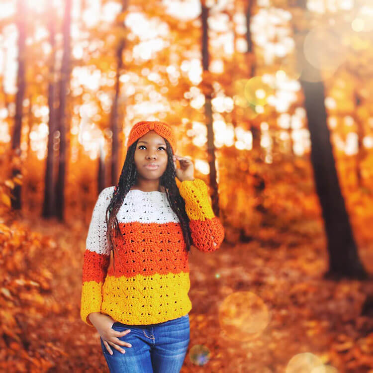 Candy Corn Crochet Sweater