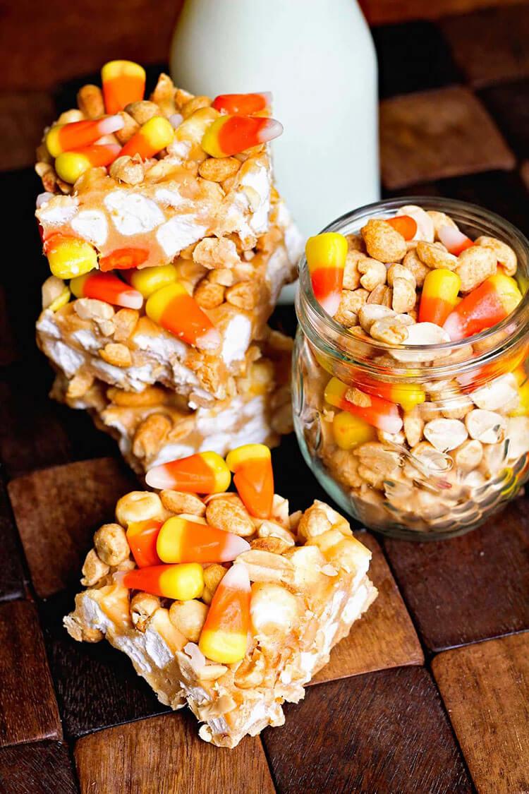 Candy Corn Peanut Bars
