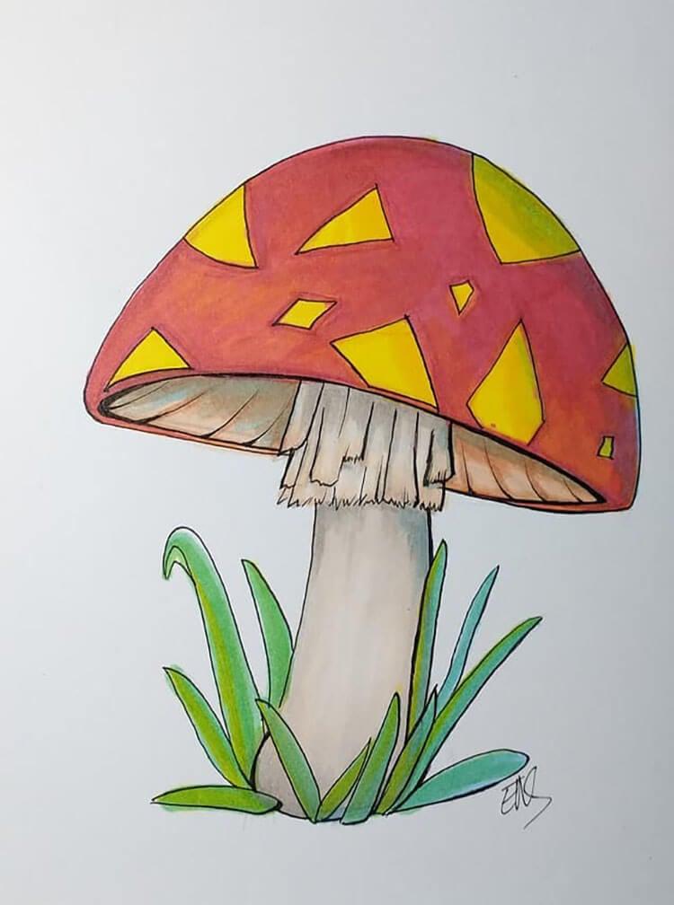 easy mushroom drawing
