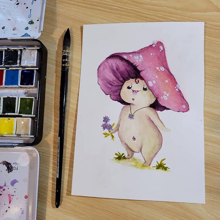 cute mushroom painting
