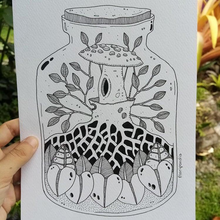 mushroom in a jar