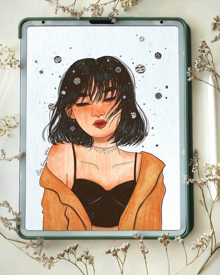 Chinese girl drawing