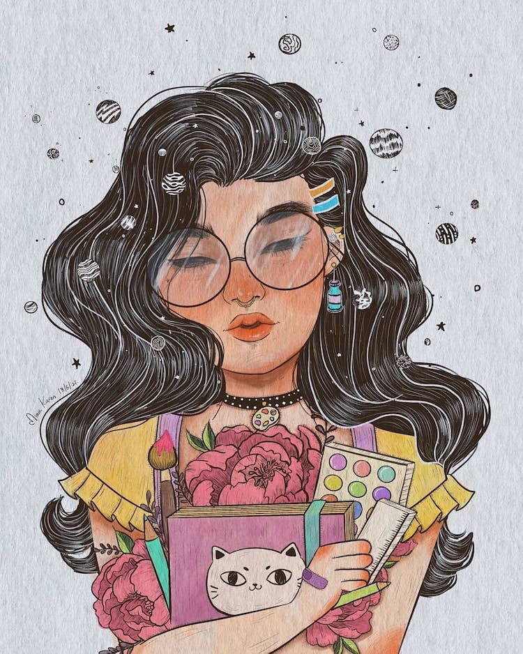 girl wearing glasses aesthetic