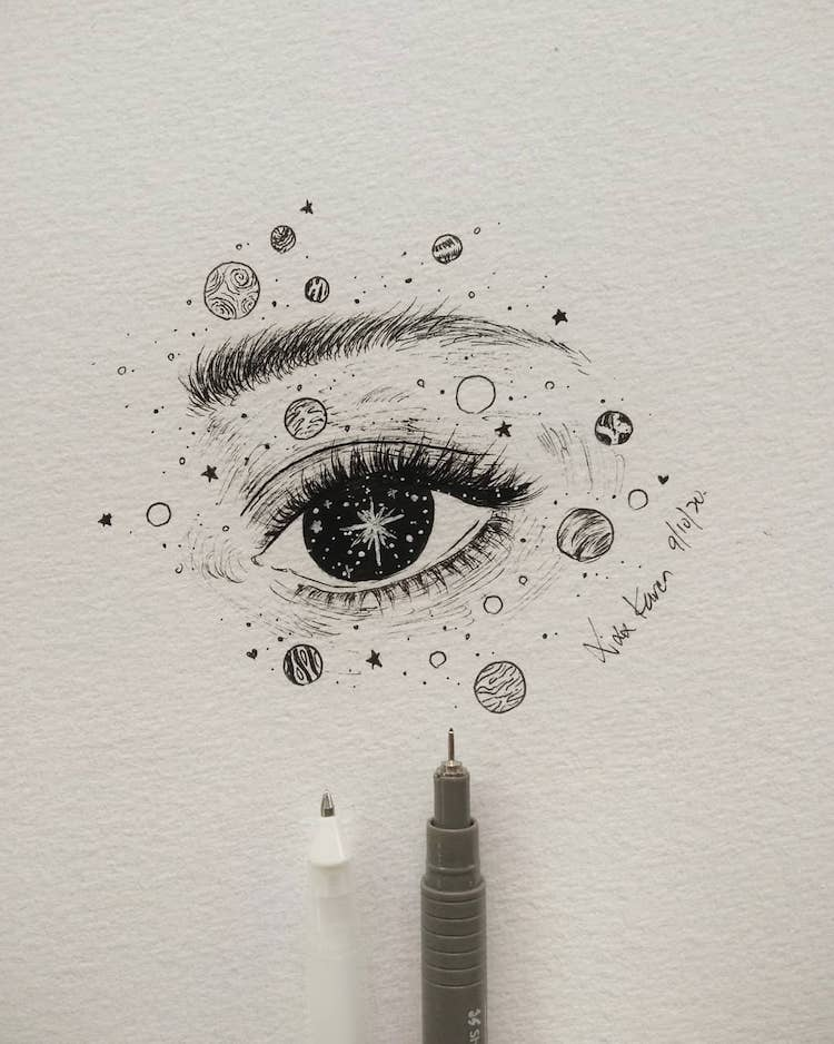 eye with planets sketch