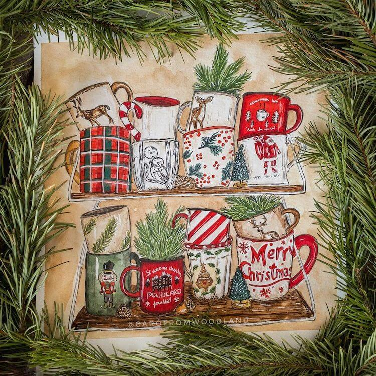 christmas mugs painting