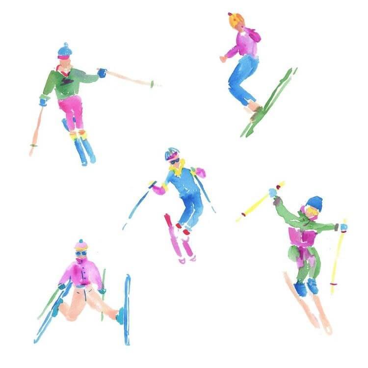 watercolor ski painting