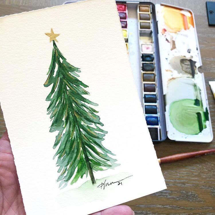 easy watercolor Christmas tree
