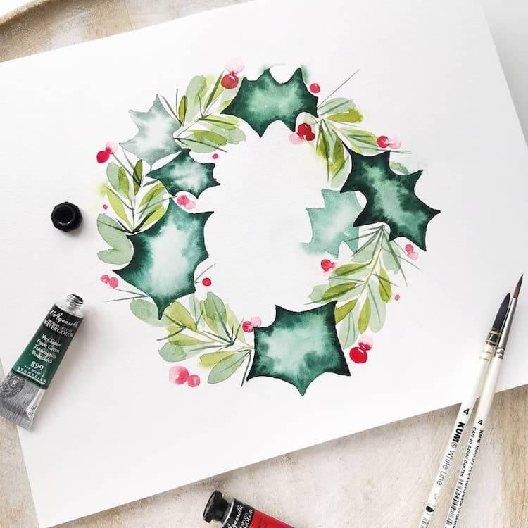 easy watercolor wreath