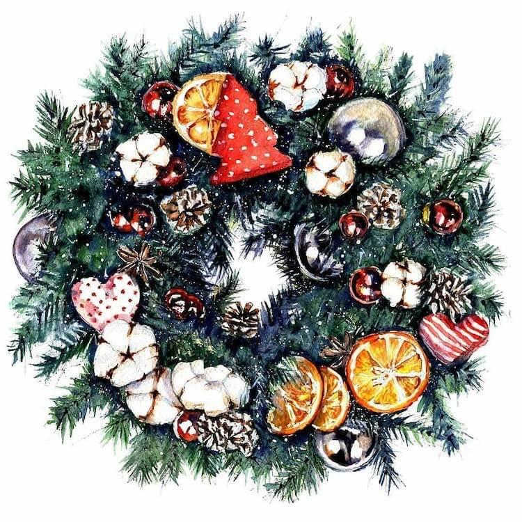 beautiful wreath painting
