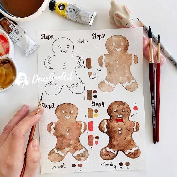 watercolor gingerbread man
