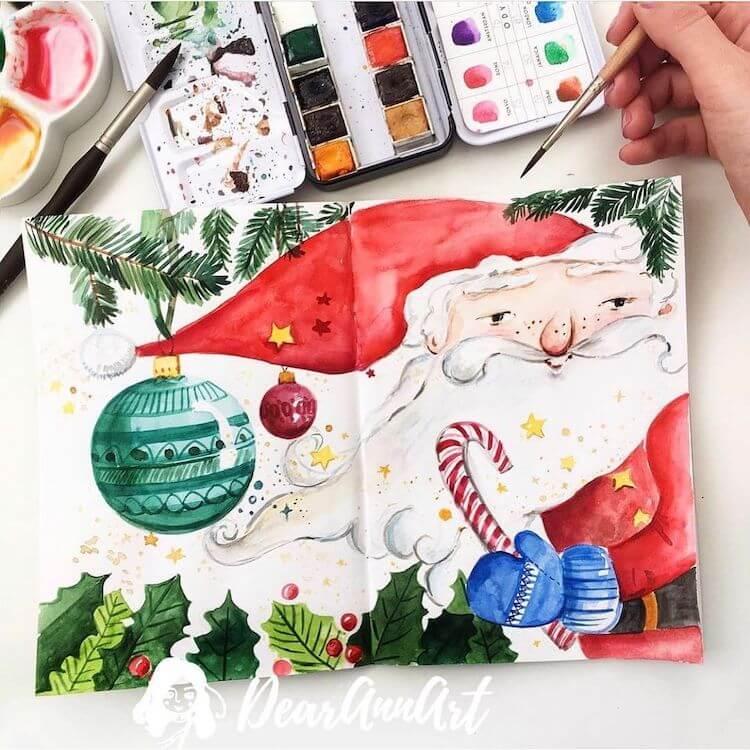 watercolor Santa Claus