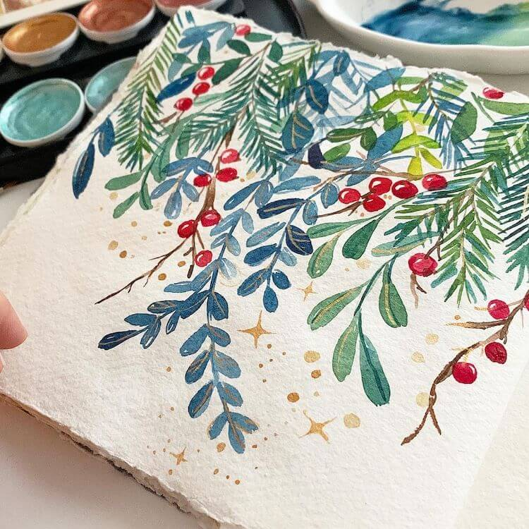 watercolor painting Christmas flowers and plants