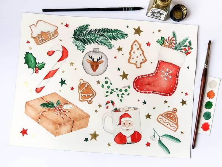 watercolor christmas doodles
