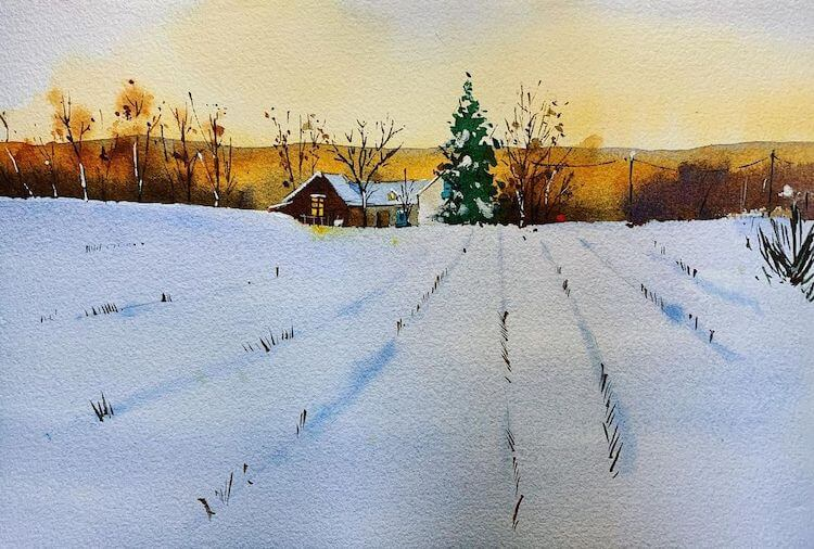 watercolor house with snow