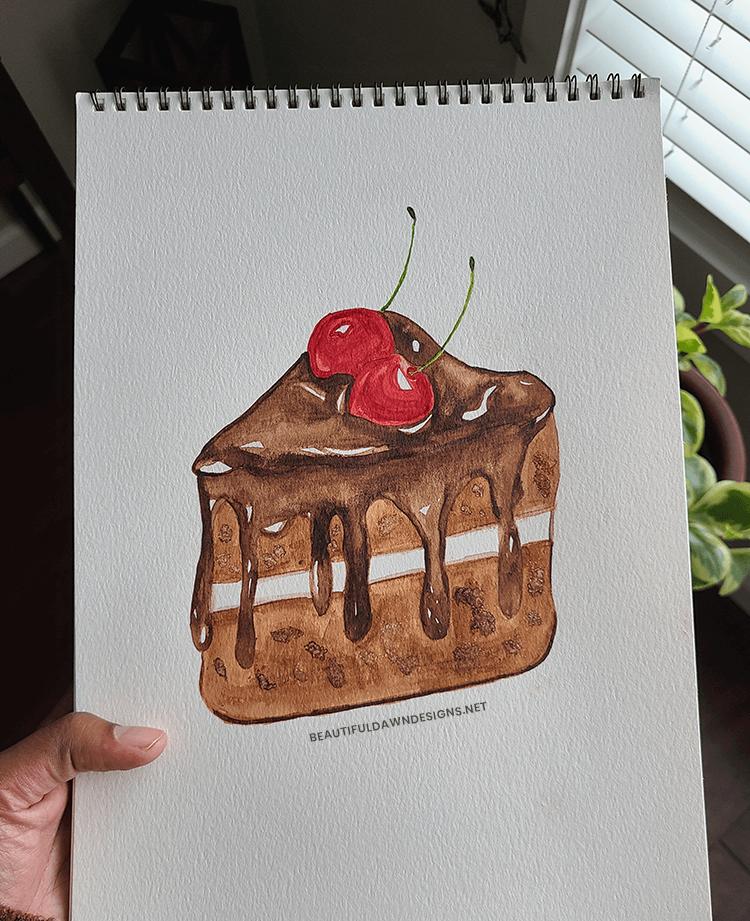 watercolor chocolate cake