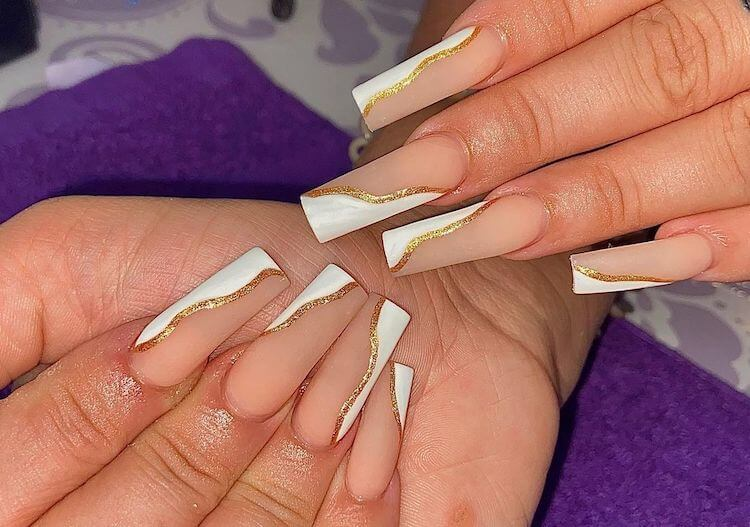 long white and gold nails