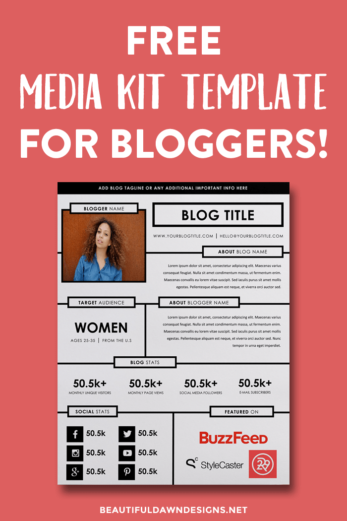 Free media kit template for bloggers.