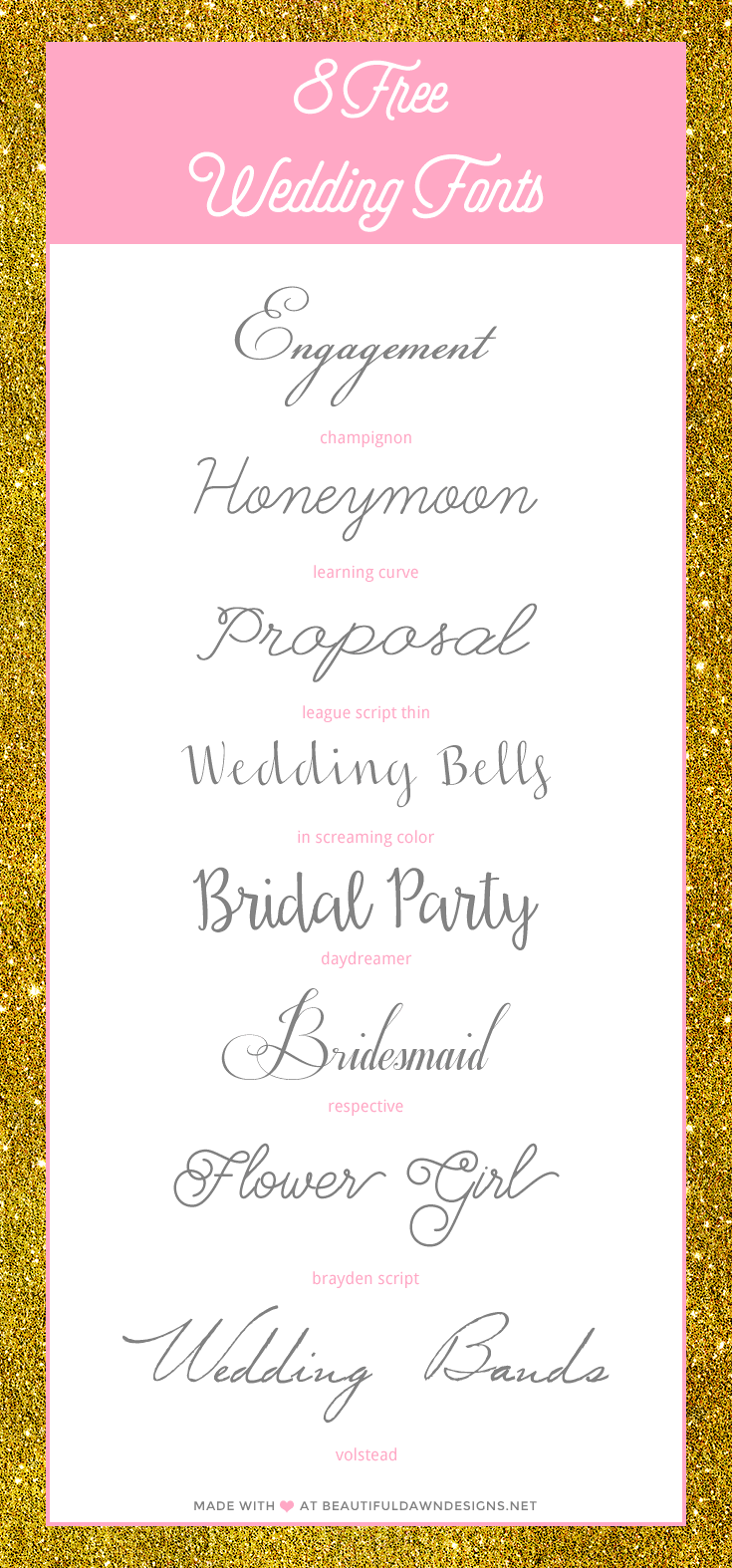 Free Wedding Fonts - Beautiful Dawn Designs