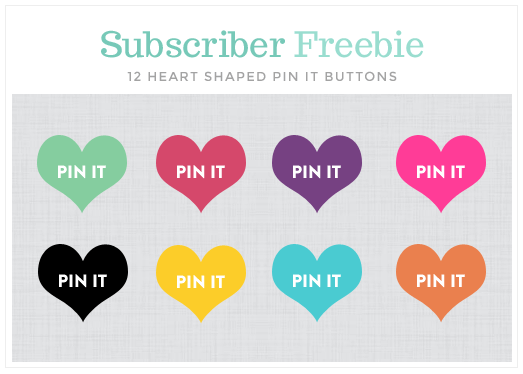 heart shaped pin it buttons