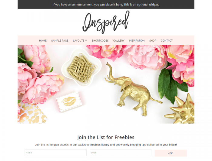 Inspired - a feminine WordPress theme